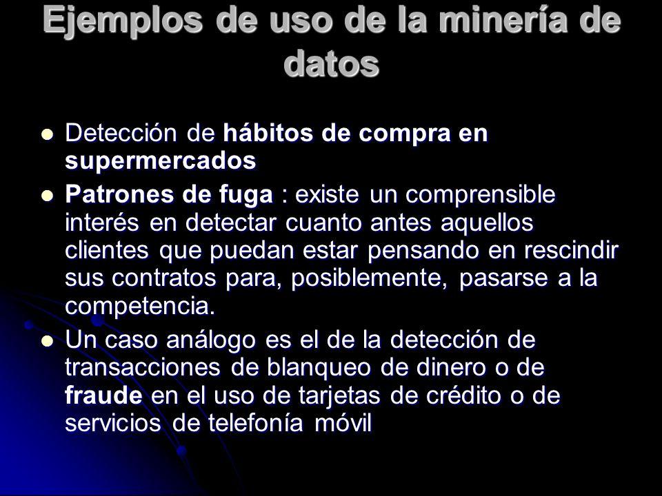 Ejemplos de uso de la minería de datos Detección de hábitos de compra en supermercados Detección de hábitos de compra en supermercados Patrones de fug
