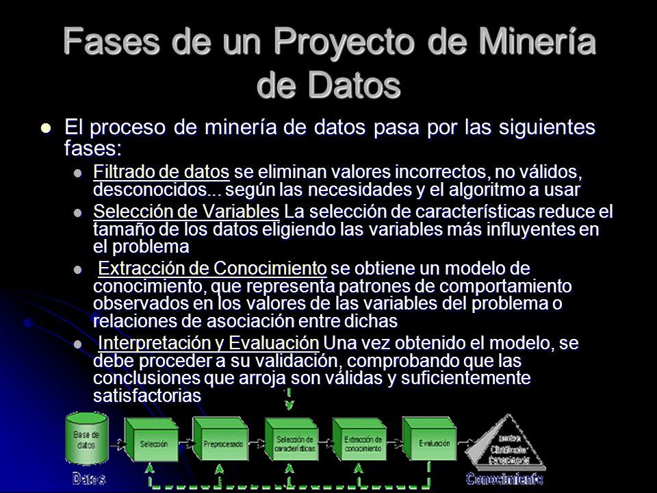 Fases de un Proyecto de Minería de Datos El proceso de minería de datos pasa por las siguientes fases: El proceso de minería de datos pasa por las sig