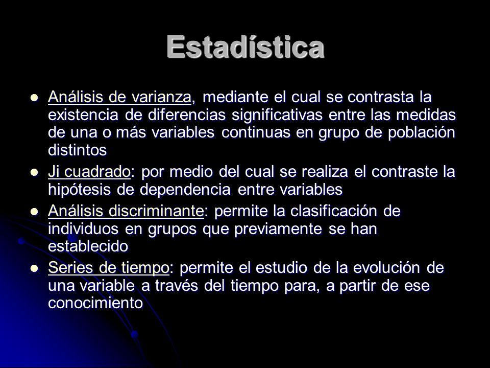 Estadística Análisis de varianza, mediante el cual se contrasta la existencia de diferencias significativas entre las medidas de una o más variables c