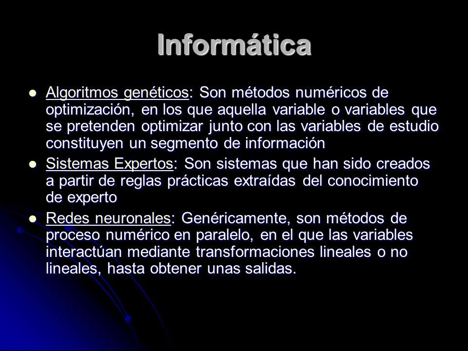 Informática Algoritmos genéticos: Son métodos numéricos de optimización, en los que aquella variable o variables que se pretenden optimizar junto con