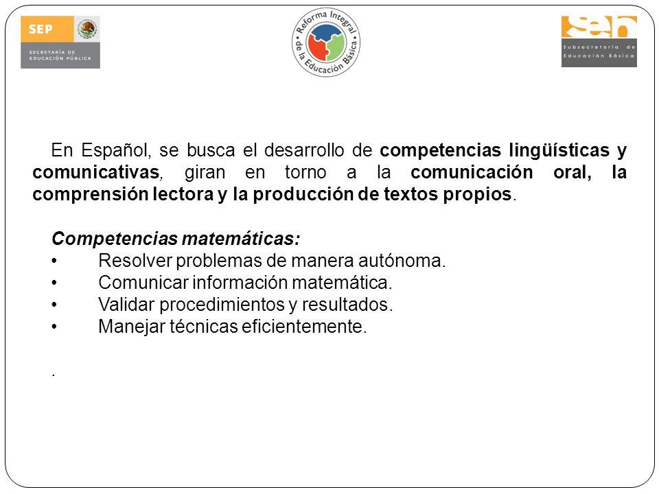 En Español, se busca el desarrollo de competencias lingüísticas y comunicativas, giran en torno a la comunicación oral, la comprensión lectora y la producción de textos propios.
