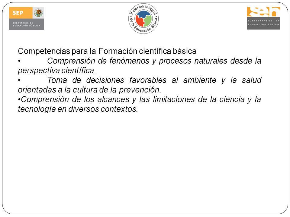 Competencias para la Formación científica básica Comprensión de fenómenos y procesos naturales desde la perspectiva científica.