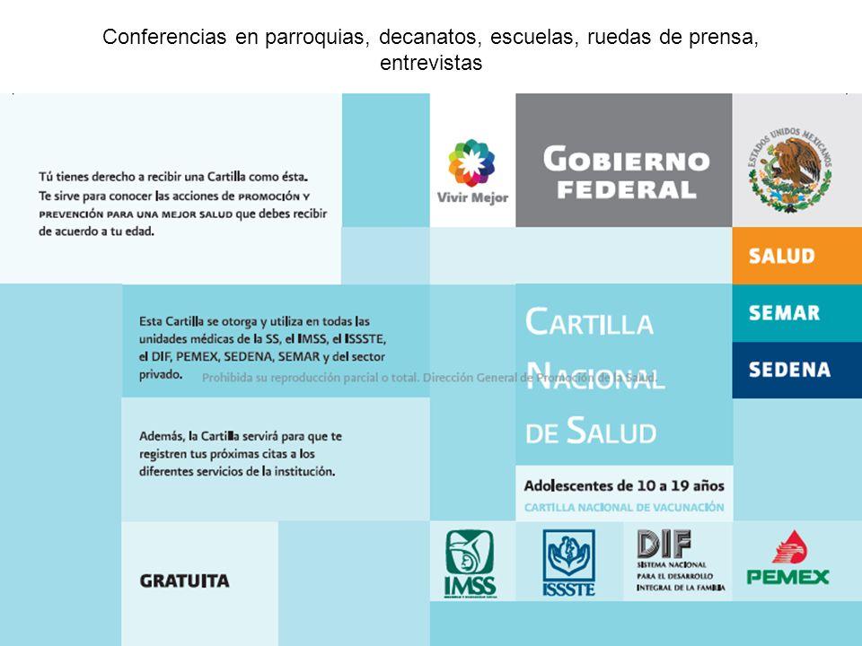 Conferencias en parroquias, decanatos, escuelas, ruedas de prensa, entrevistas