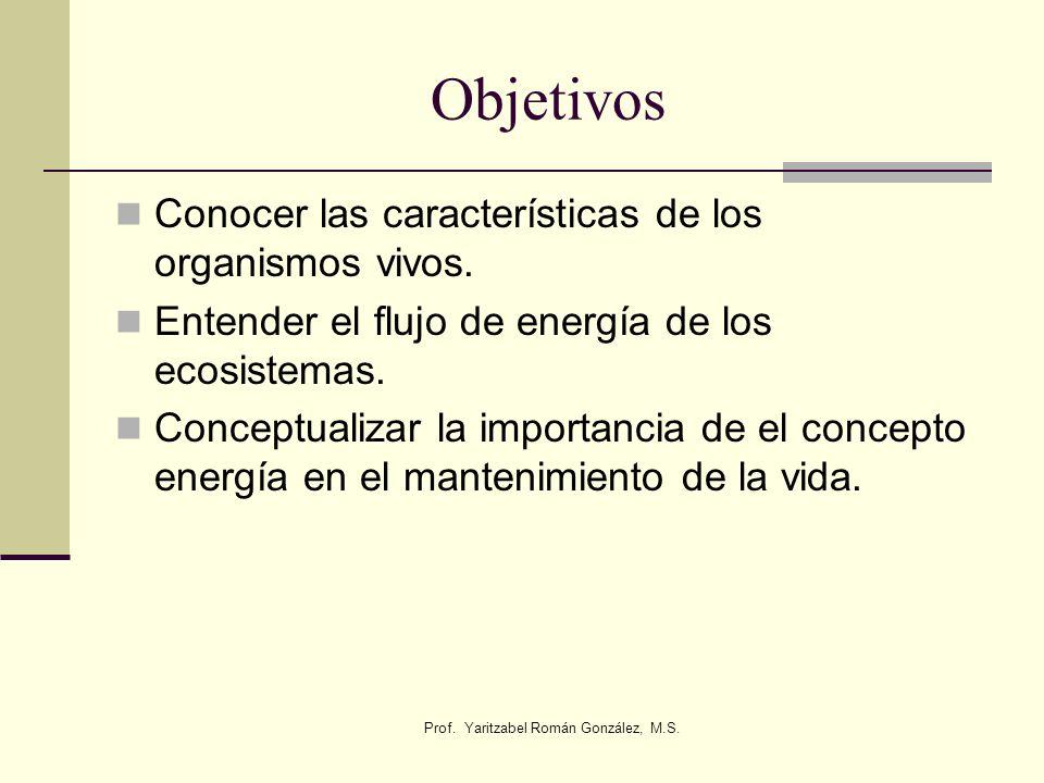 Objetivos Conocer las características de los organismos vivos. Entender el flujo de energía de los ecosistemas. Conceptualizar la importancia de el co
