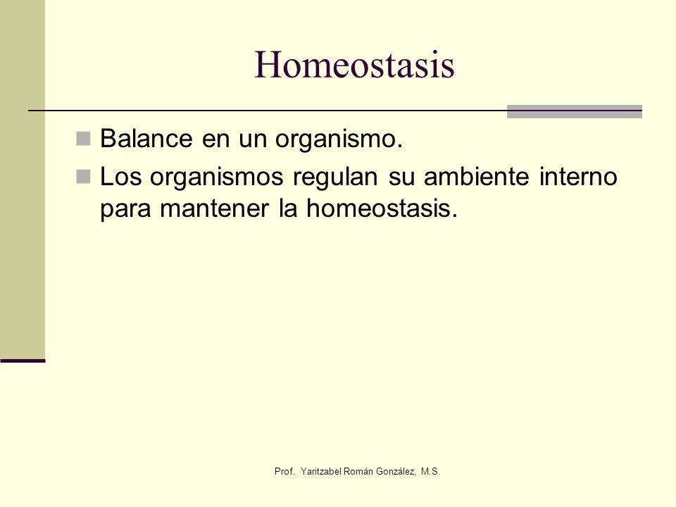 Prof. Yaritzabel Román González, M.S. Homeostasis Balance en un organismo. Los organismos regulan su ambiente interno para mantener la homeostasis.