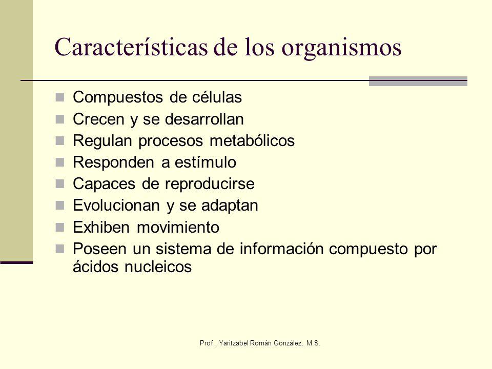 Prof. Yaritzabel Román González, M.S. Características de los organismos Compuestos de células Crecen y se desarrollan Regulan procesos metabólicos Res