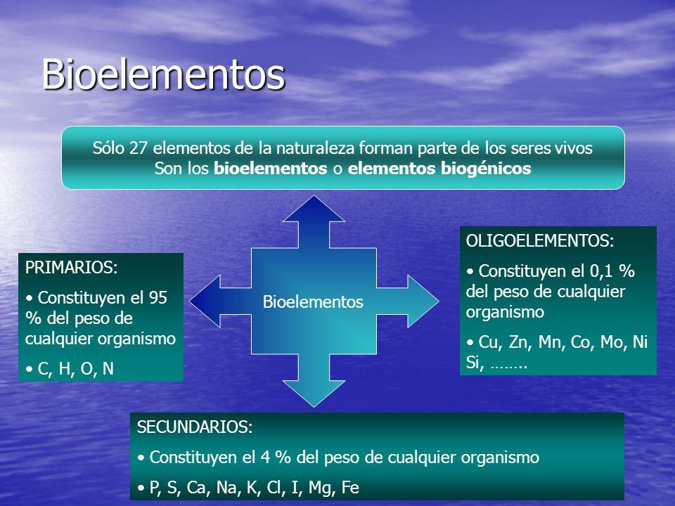 Bioelementos Sólo 27 elementos de la naturaleza forman parte de los seres vivos Son los bioelementos o elementos biogénicos Bioelementos PRIMARIOS: Constituyen el 95 % del peso de cualquier organismo C, H, O, N SECUNDARIOS: Constituyen el 4 % del peso de cualquier organismo P, S, Ca, Na, K, Cl, I, Mg, Fe OLIGOELEMENTOS: Constituyen el 0,1 % del peso de cualquier organismo Cu, Zn, Mn, Co, Mo, Ni Si, ……..