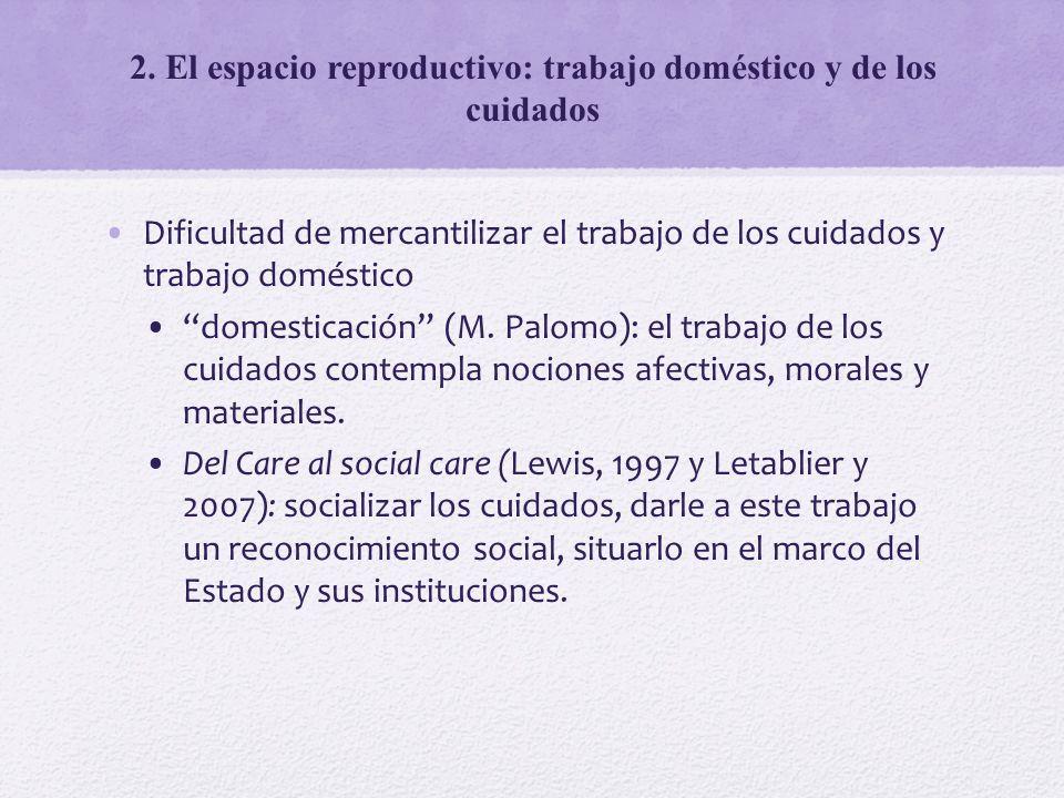 Dificultad de mercantilizar el trabajo de los cuidados y trabajo doméstico domesticación (M. Palomo): el trabajo de los cuidados contempla nociones af