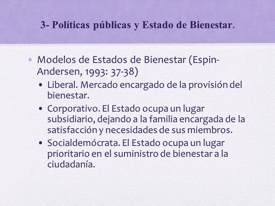 3- Políticas públicas y Estado de Bienestar. Modelos de Estados de Bienestar (Espin- Andersen, 1993: 37-38) Liberal. Mercado encargado de la provisión