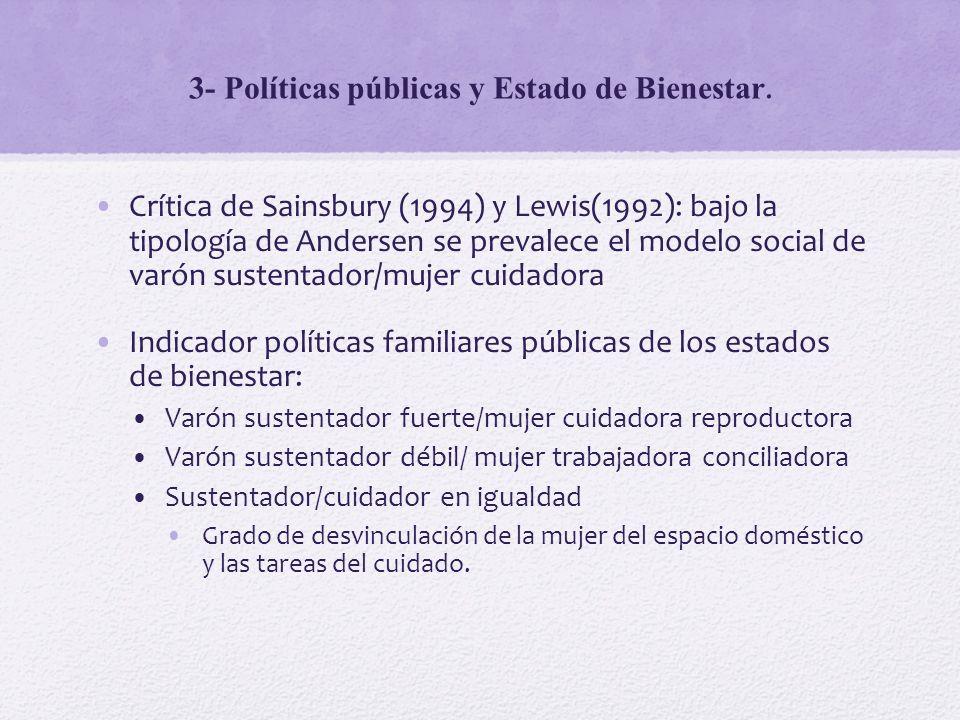 3- Políticas públicas y Estado de Bienestar. Crítica de Sainsbury (1994) y Lewis(1992): bajo la tipología de Andersen se prevalece el modelo social de