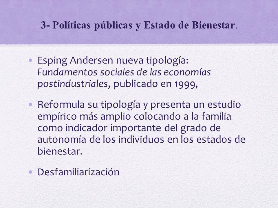 3- Políticas públicas y Estado de Bienestar. Esping Andersen nueva tipología: Fundamentos sociales de las economías postindustriales, publicado en 199