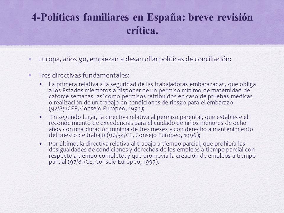 4-Políticas familiares en España: breve revisión crítica. Europa, años 90, empiezan a desarrollar políticas de conciliación: Tres directivas fundament