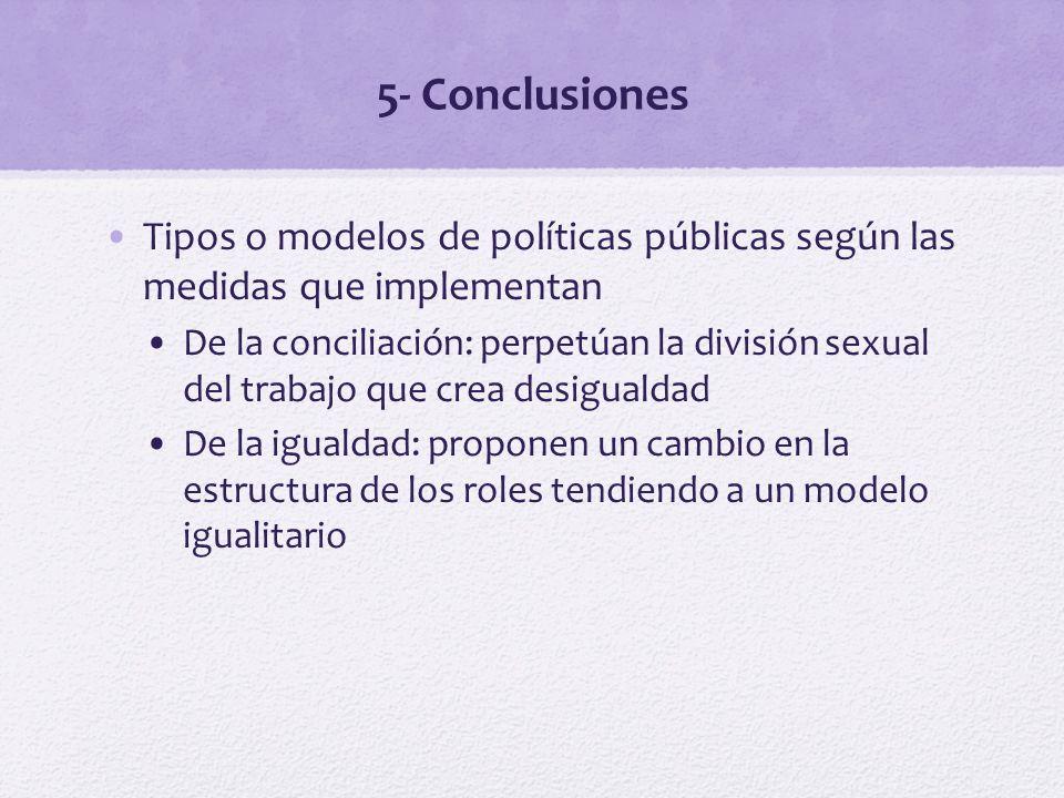 5- Conclusiones Tipos o modelos de políticas públicas según las medidas que implementan De la conciliación: perpetúan la división sexual del trabajo q