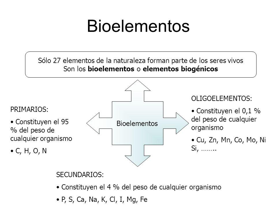 Bioelementos Sólo 27 elementos de la naturaleza forman parte de los seres vivos Son los bioelementos o elementos biogénicos Bioelementos PRIMARIOS: Co