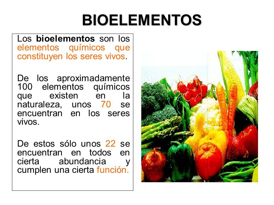 Los bioelementos son los elementos químicos que constituyen los seres vivos. De los aproximadamente 100 elementos químicos que existen en la naturalez