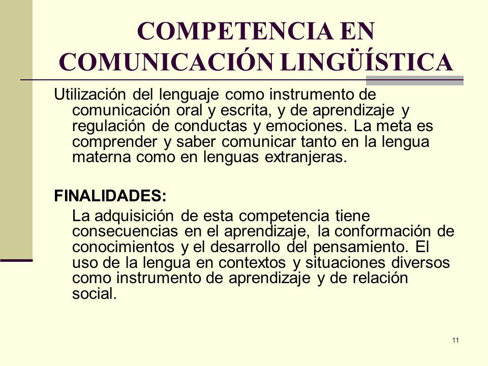 11 COMPETENCIA EN COMUNICACIÓN LINGÜÍSTICA Utilización del lenguaje como instrumento de comunicación oral y escrita, y de aprendizaje y regulación de