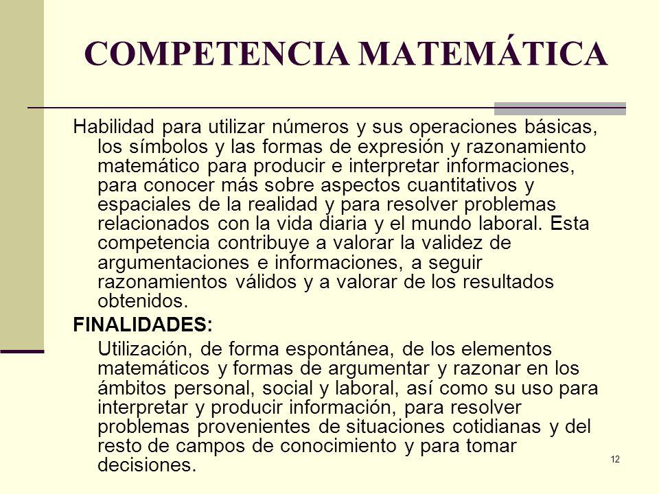 12 COMPETENCIA MATEMÁTICA Habilidad para utilizar números y sus operaciones básicas, los símbolos y las formas de expresión y razonamiento matemático