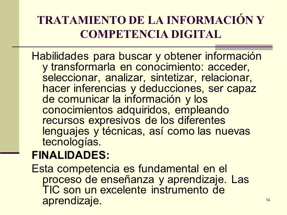 14 TRATAMIENTO DE LA INFORMACIÓN Y COMPETENCIA DIGITAL Habilidades para buscar y obtener información y transformarla en conocimiento: acceder, selecci