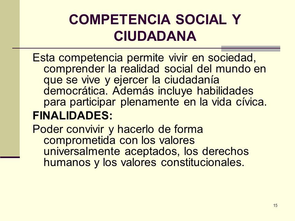 15 COMPETENCIA SOCIAL Y CIUDADANA Esta competencia permite vivir en sociedad, comprender la realidad social del mundo en que se vive y ejercer la ciud