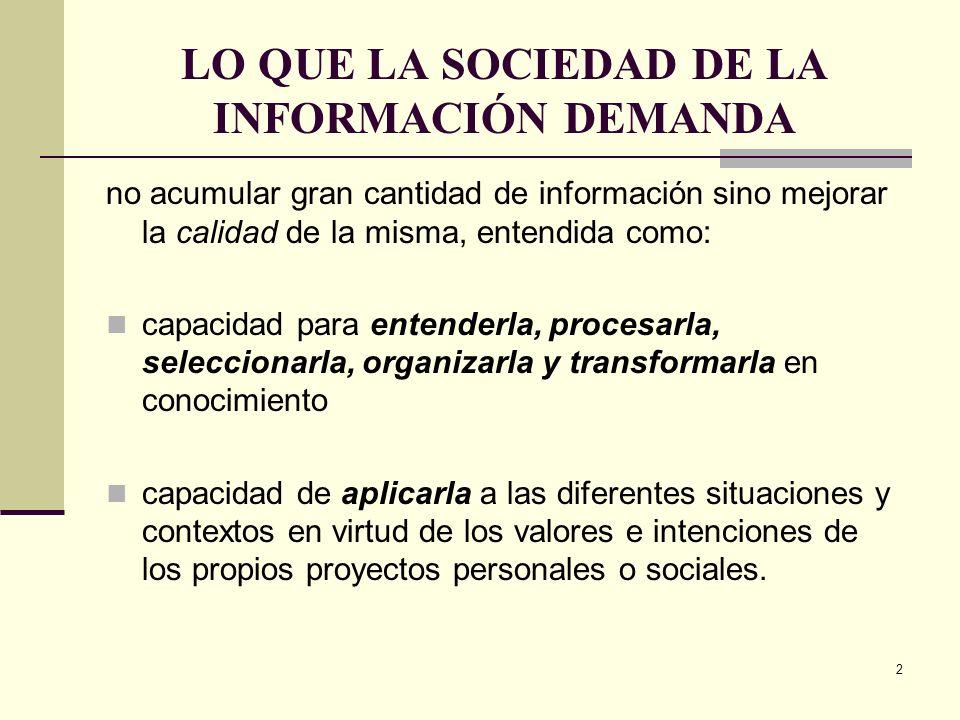 2 LO QUE LA SOCIEDAD DE LA INFORMACIÓN DEMANDA no acumular gran cantidad de información sino mejorar la calidad de la misma, entendida como: capacidad