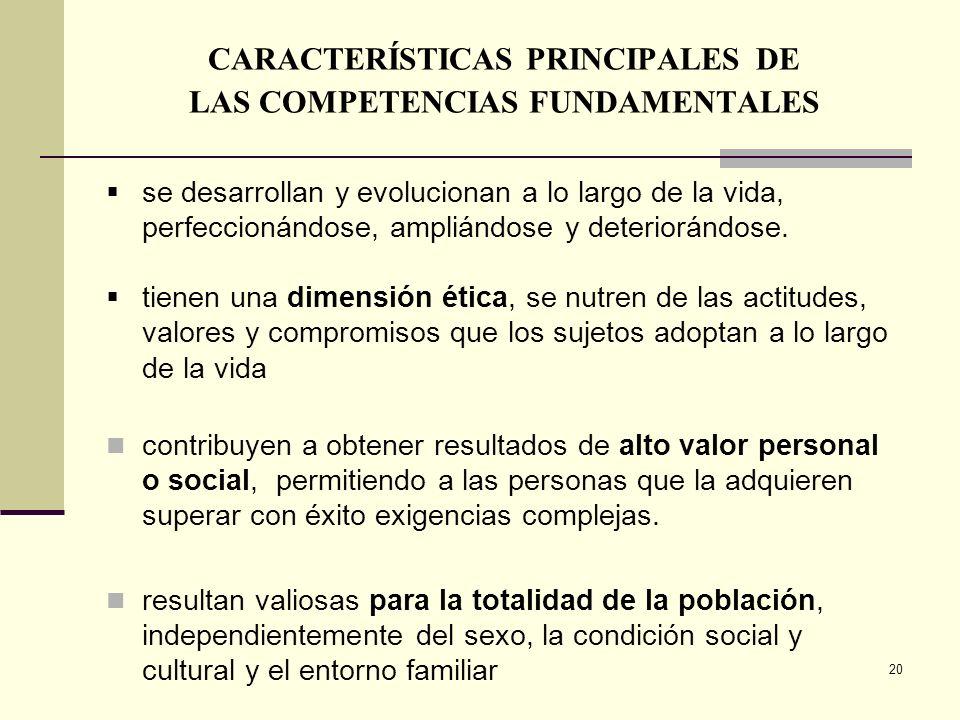 20 CARACTERÍSTICAS PRINCIPALES DE LAS COMPETENCIAS FUNDAMENTALES se desarrollan y evolucionan a lo largo de la vida, perfeccionándose, ampliándose y d