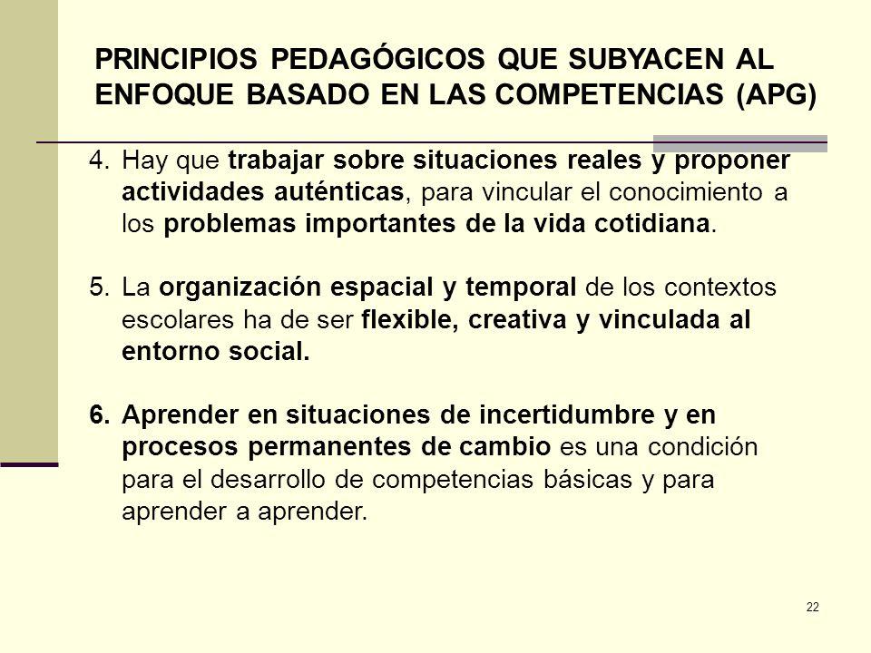 22 PRINCIPIOS PEDAGÓGICOS QUE SUBYACEN AL ENFOQUE BASADO EN LAS COMPETENCIAS (APG) 4.Hay que trabajar sobre situaciones reales y proponer actividades