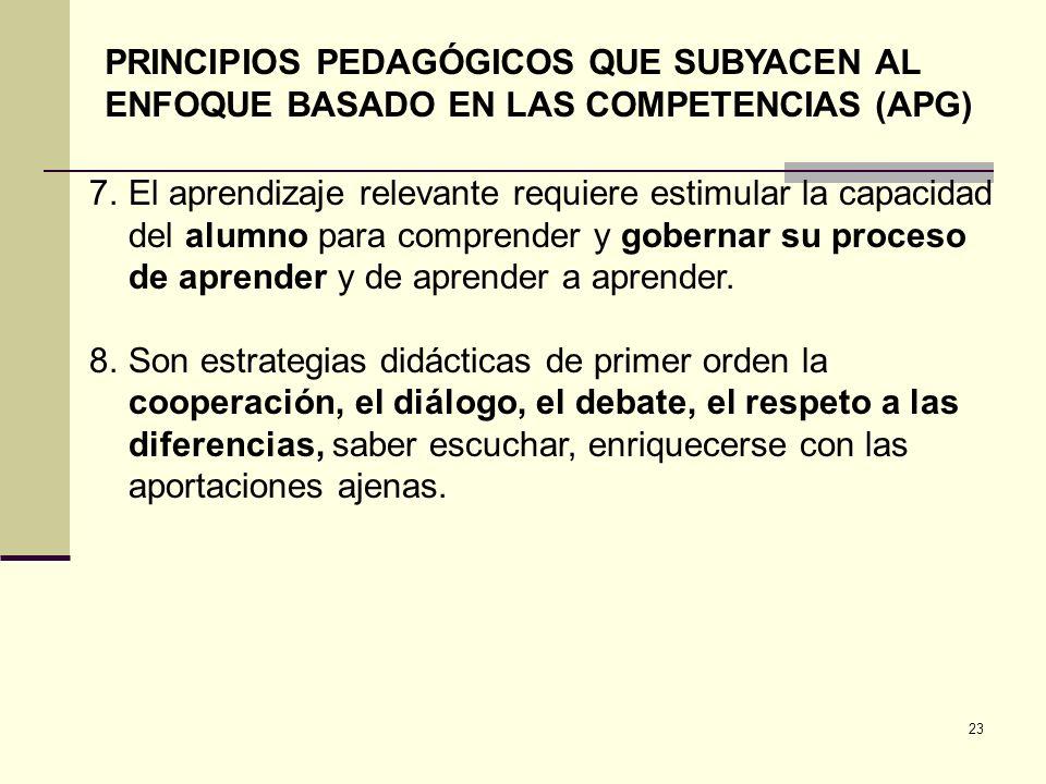 23 PRINCIPIOS PEDAGÓGICOS QUE SUBYACEN AL ENFOQUE BASADO EN LAS COMPETENCIAS (APG) 7.El aprendizaje relevante requiere estimular la capacidad del alum