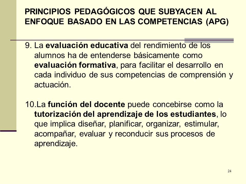 24 PRINCIPIOS PEDAGÓGICOS QUE SUBYACEN AL ENFOQUE BASADO EN LAS COMPETENCIAS (APG) 9.La evaluación educativa del rendimiento de los alumnos ha de ente