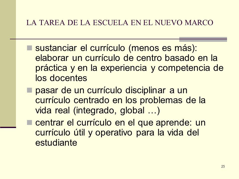25 LA TAREA DE LA ESCUELA EN EL NUEVO MARCO sustanciar el currículo (menos es más): elaborar un currículo de centro basado en la práctica y en la expe