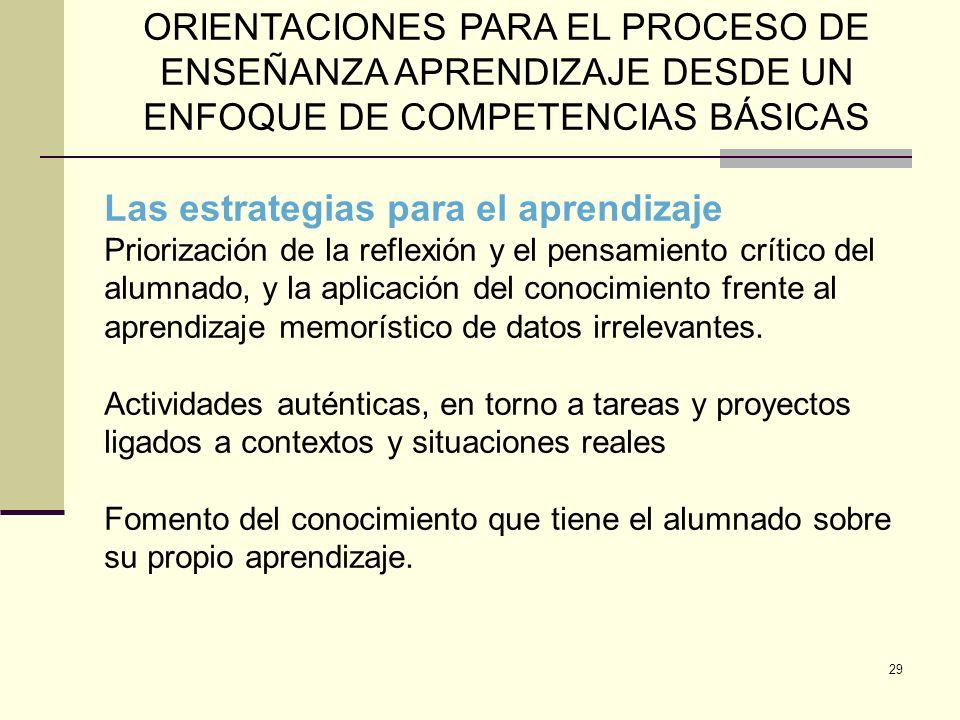 29 ORIENTACIONES PARA EL PROCESO DE ENSEÑANZA APRENDIZAJE DESDE UN ENFOQUE DE COMPETENCIAS BÁSICAS Las estrategias para el aprendizaje Priorización de
