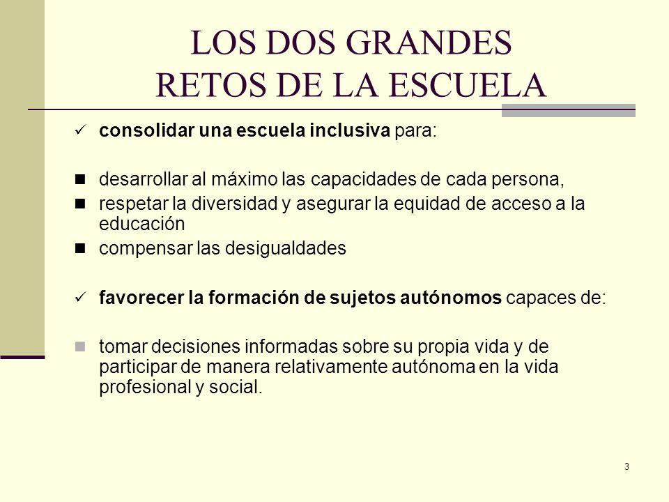 3 LOS DOS GRANDES RETOS DE LA ESCUELA consolidar una escuela inclusiva para: desarrollar al máximo las capacidades de cada persona, respetar la divers
