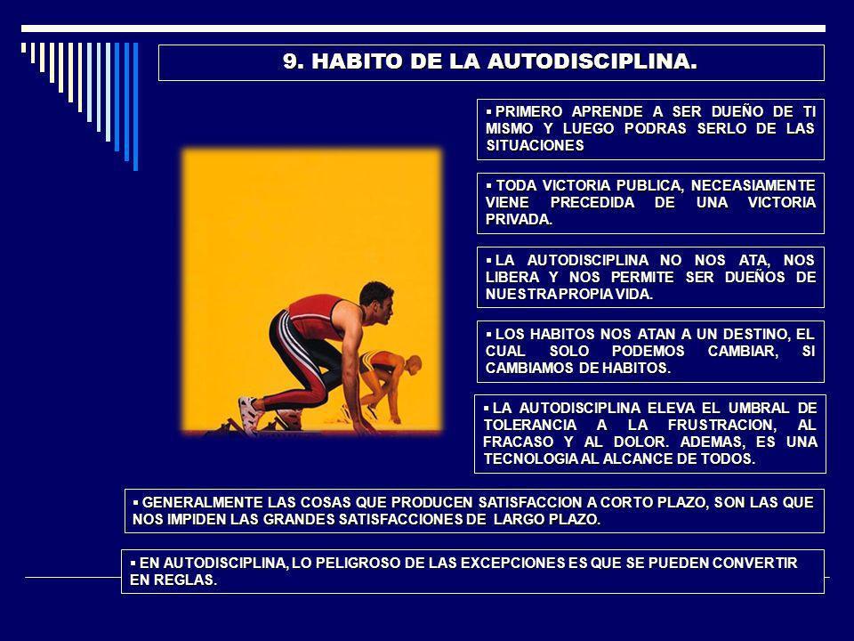 10.HABITO DE LA ACCION. SI USTED NO TIENE ESTE HABITO, NO LE SERVIRAN PARA NADA LOS DEMAS.