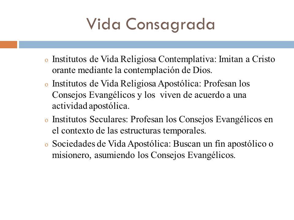 Vida Consagrada o Institutos de Vida Religiosa Contemplativa: Imitan a Cristo orante mediante la contemplación de Dios. o Institutos de Vida Religiosa