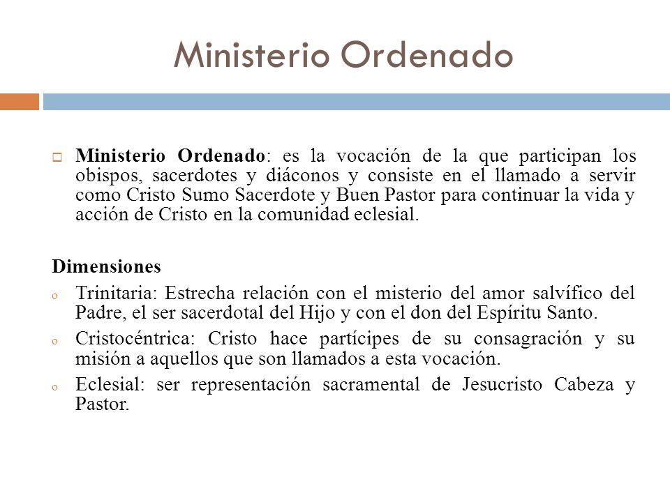 Ministerio Ordenado Ministerio Ordenado: es la vocación de la que participan los obispos, sacerdotes y diáconos y consiste en el llamado a servir como