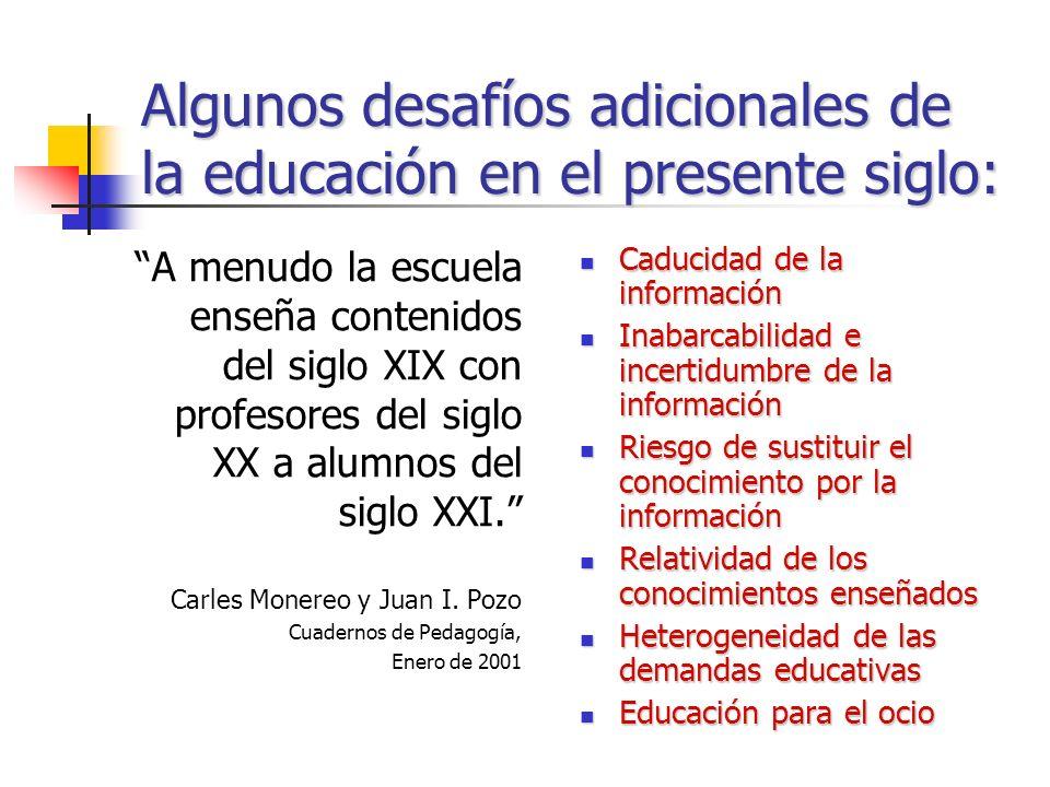 Algunos desafíos adicionales de la educación en el presente siglo: Caducidad de la información Caducidad de la información Inabarcabilidad e incertidumbre de la información Inabarcabilidad e incertidumbre de la información Riesgo de sustituir el conocimiento por la información Riesgo de sustituir el conocimiento por la información Relatividad de los conocimientos enseñados Relatividad de los conocimientos enseñados Heterogeneidad de las demandas educativas Heterogeneidad de las demandas educativas Educación para el ocio Educación para el ocio A menudo la escuela enseña contenidos del siglo XIX con profesores del siglo XX a alumnos del siglo XXI.