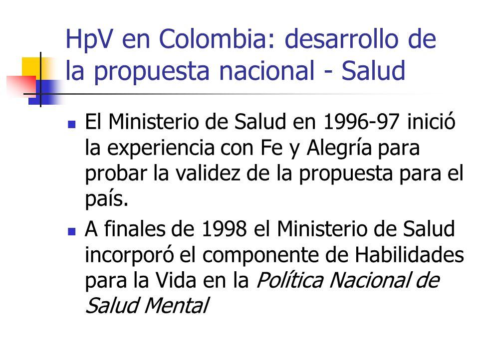 HpV en Colombia: desarrollo de la propuesta nacional - Salud El Ministerio de Salud en 1996-97 inició la experiencia con Fe y Alegría para probar la validez de la propuesta para el país.