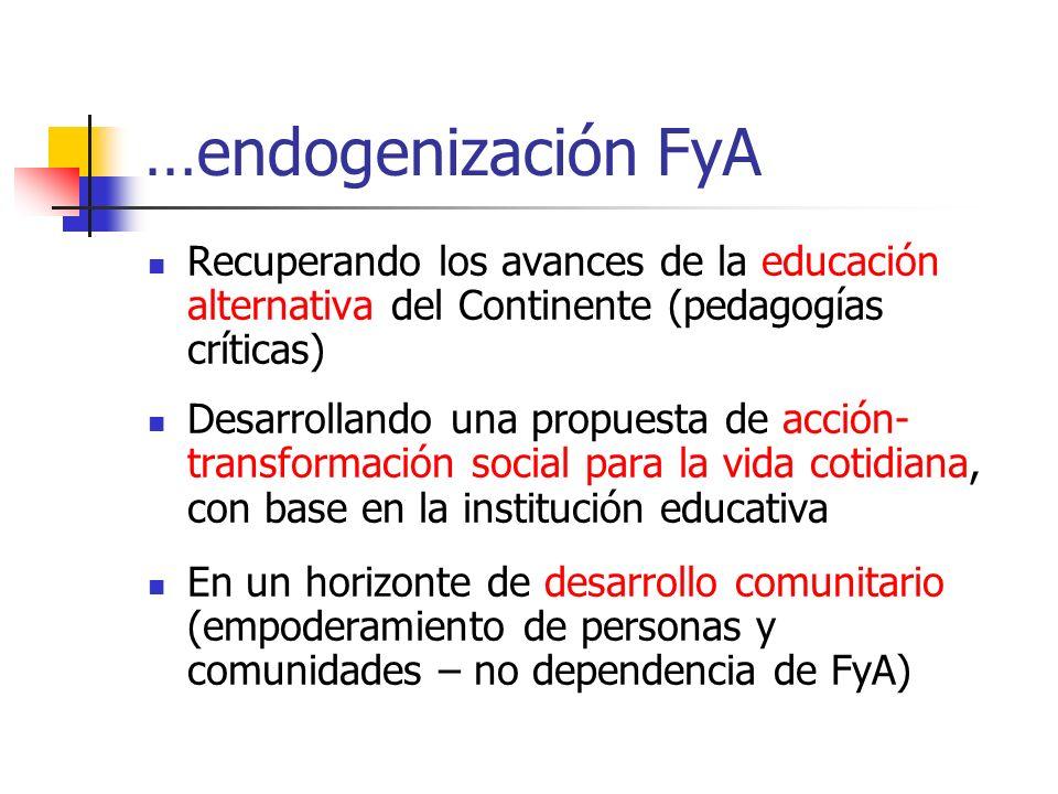 …endogenización FyA Recuperando los avances de la educación alternativa del Continente (pedagogías críticas) Desarrollando una propuesta de acción- transformación social para la vida cotidiana, con base en la institución educativa En un horizonte de desarrollo comunitario (empoderamiento de personas y comunidades – no dependencia de FyA)