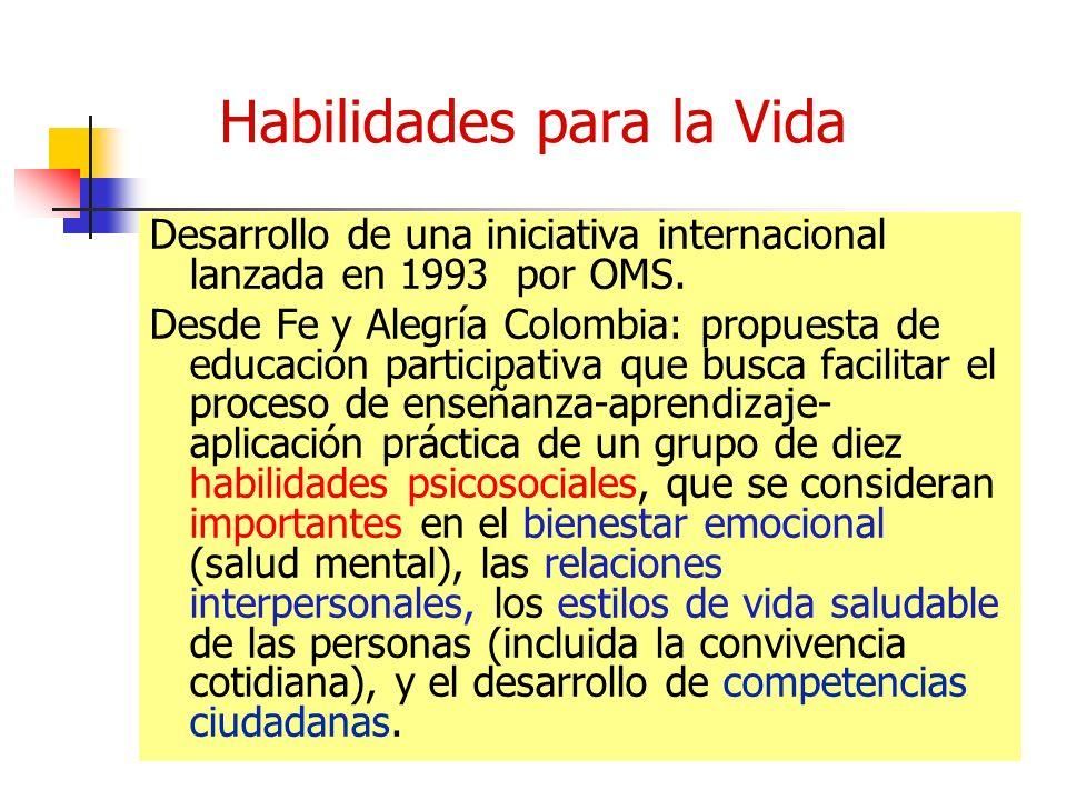 Habilidades para la Vida Desarrollo de una iniciativa internacional lanzada en 1993 por OMS.