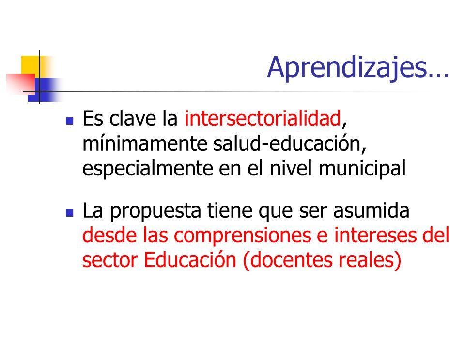 Aprendizajes… Es clave la intersectorialidad, mínimamente salud-educación, especialmente en el nivel municipal La propuesta tiene que ser asumida desde las comprensiones e intereses del sector Educación (docentes reales)