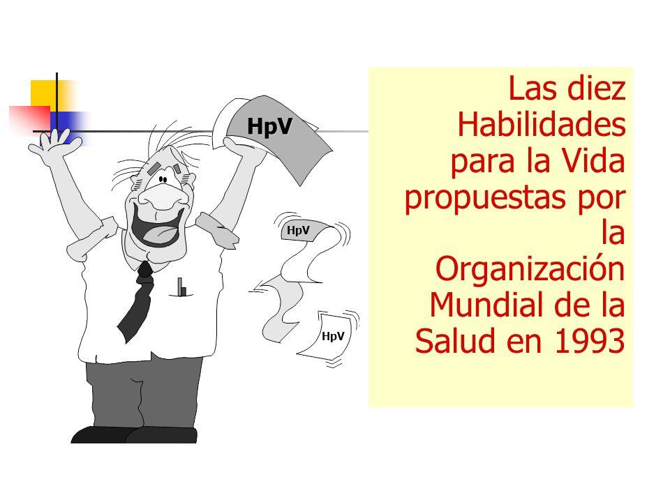 Las diez Habilidades para la Vida propuestas por la Organización Mundial de la Salud en 1993 HpV HpV