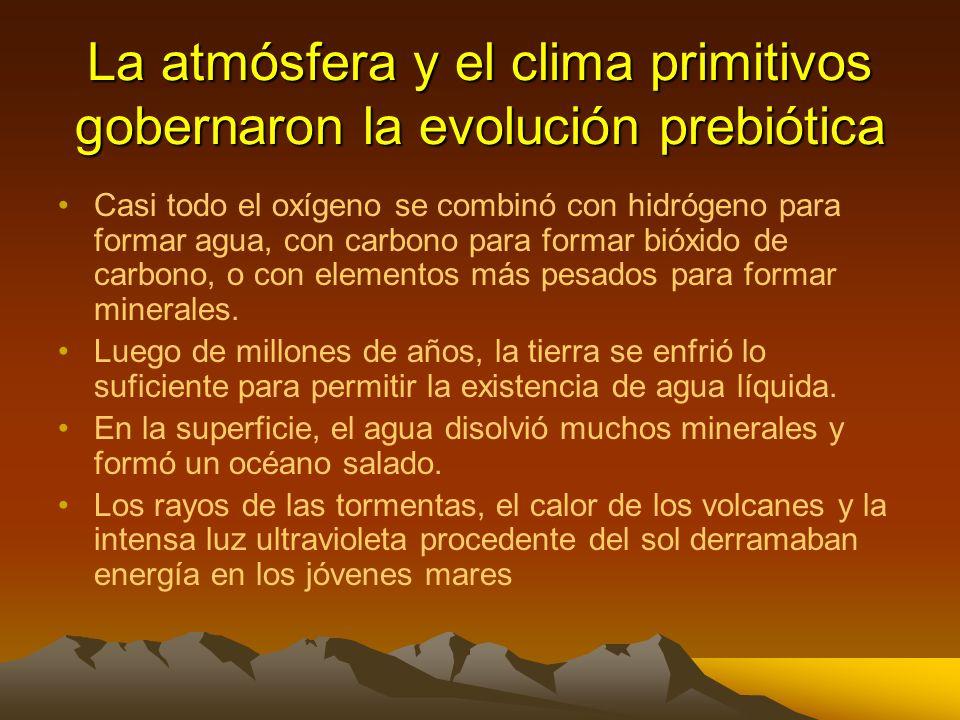 La atmósfera y el clima primitivos gobernaron la evolución prebiótica En su formación, hace 4500 millones de años la tierra era muy caliente, muchos m