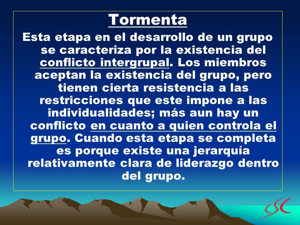 Tormenta Esta etapa en el desarrollo de un grupo se caracteriza por la existencia del conflicto intergrupal. Los miembros aceptan la existencia del gr