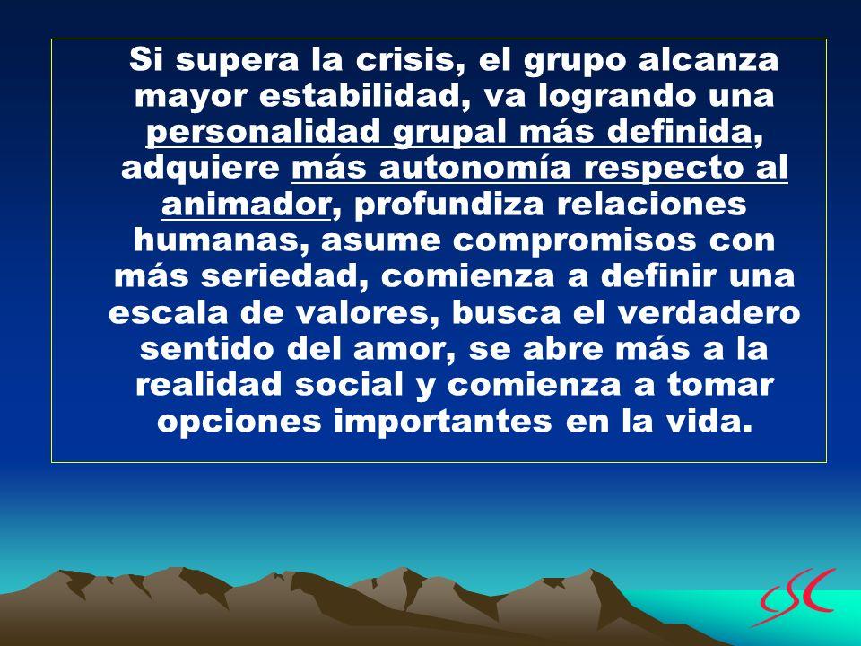 Si supera la crisis, el grupo alcanza mayor estabilidad, va logrando una personalidad grupal más definida, adquiere más autonomía respecto al animador