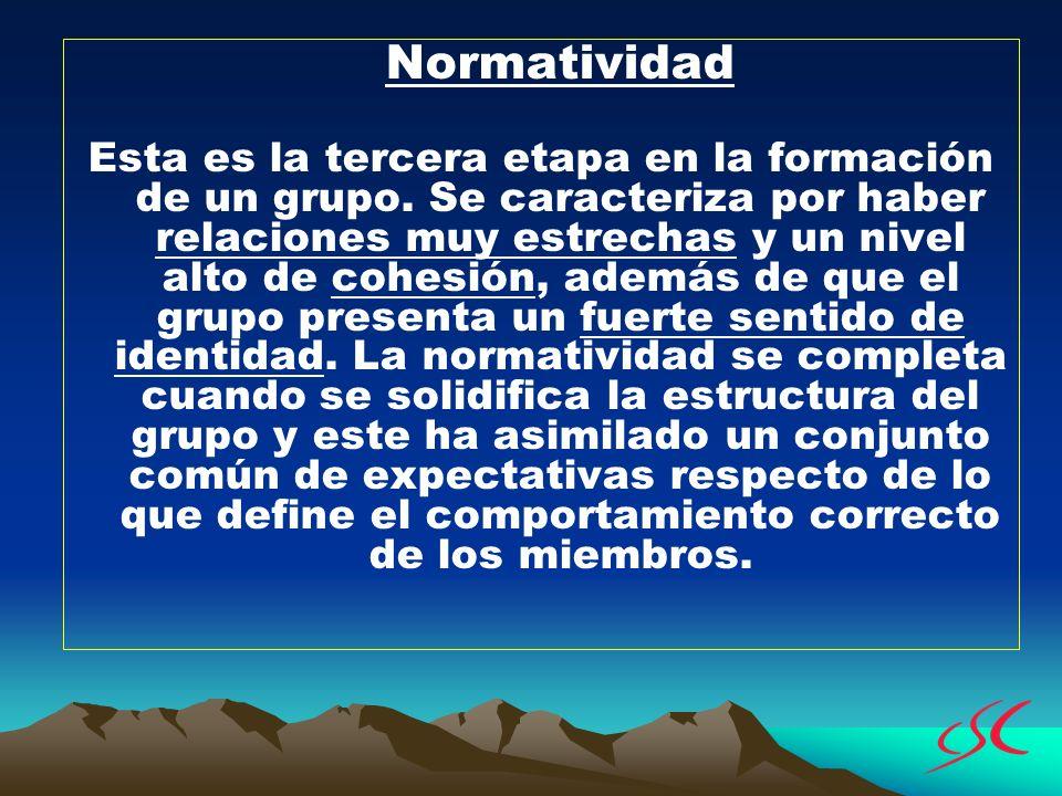 Normatividad Esta es la tercera etapa en la formación de un grupo. Se caracteriza por haber relaciones muy estrechas y un nivel alto de cohesión, adem