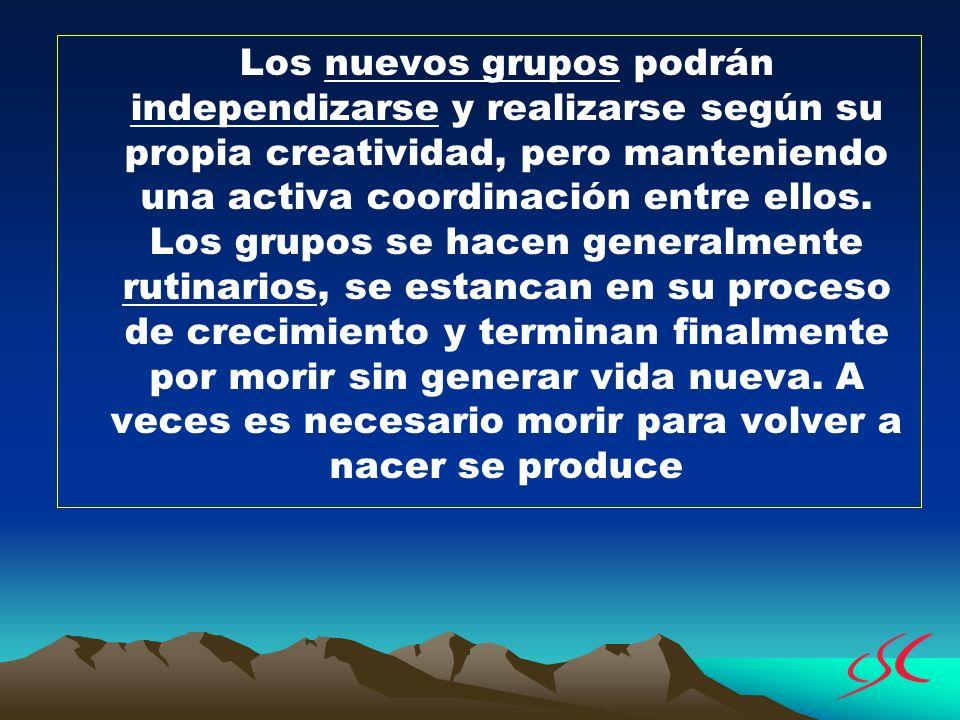 Los nuevos grupos podrán independizarse y realizarse según su propia creatividad, pero manteniendo una activa coordinación entre ellos. Los grupos se