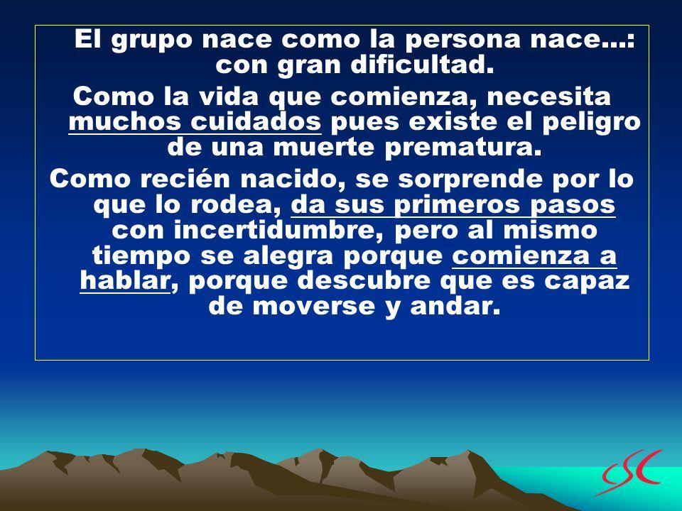 El grupo nace como la persona nace...: con gran dificultad. Como la vida que comienza, necesita muchos cuidados pues existe el peligro de una muerte p