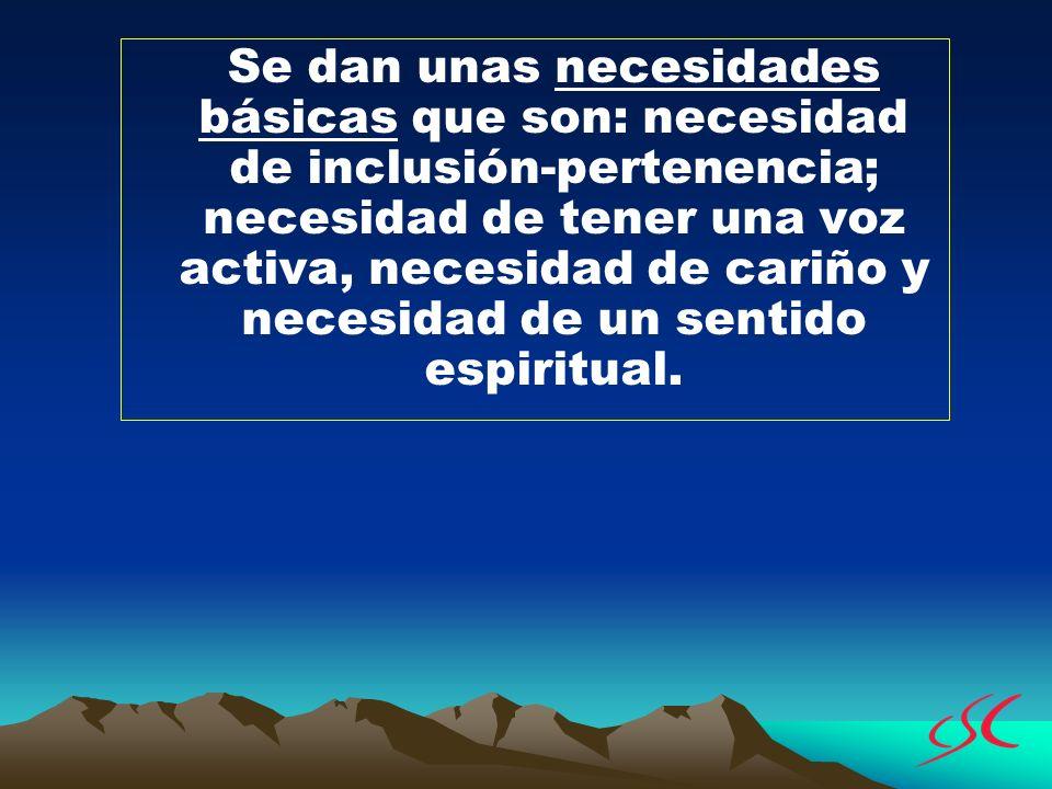 Se dan unas necesidades básicas que son: necesidad de inclusión-pertenencia; necesidad de tener una voz activa, necesidad de cariño y necesidad de un