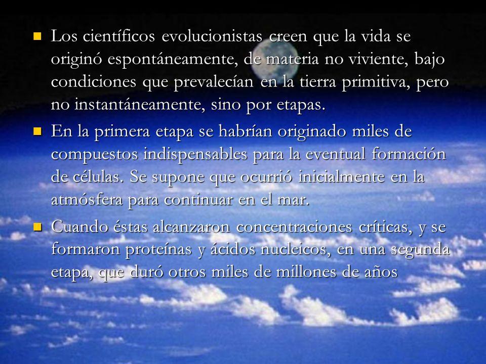 Los científicos evolucionistas creen que la vida se originó espontáneamente, de materia no viviente, bajo condiciones que prevalecían en la tierra pri