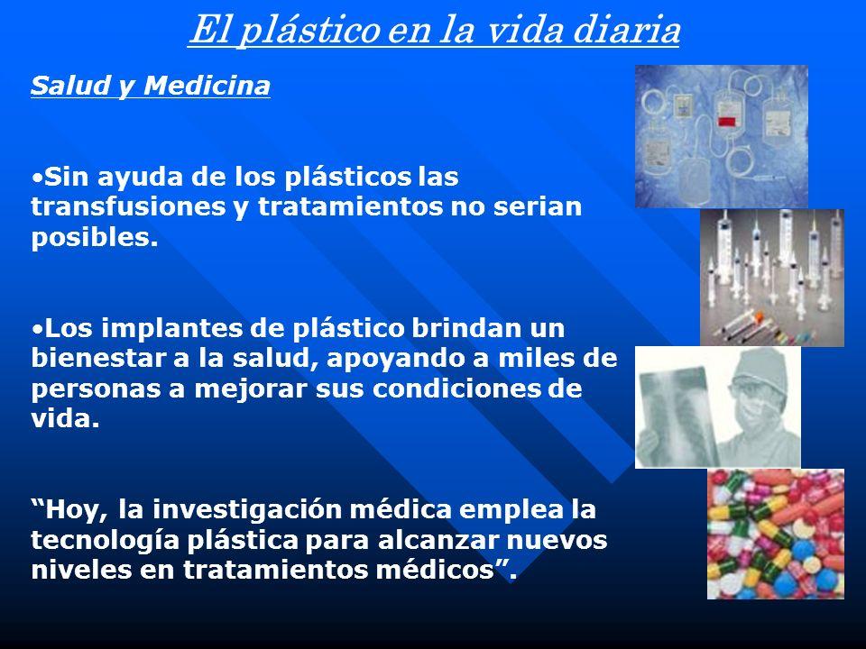 Salud y Medicina Sin ayuda de los plásticos las transfusiones y tratamientos no serian posibles.