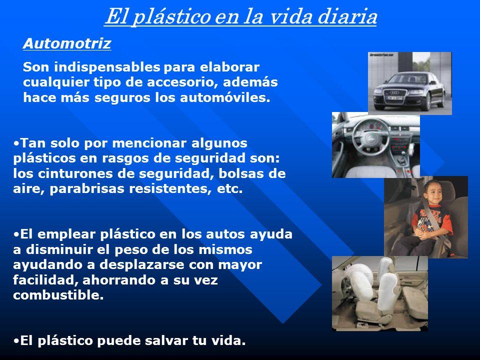 El plástico en la vida diaria Automotriz Son indispensables para elaborar cualquier tipo de accesorio, además hace más seguros los automóviles. Tan so